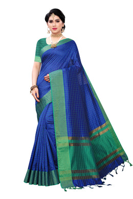 Manipuri Blue Cotton Silk Printed Saree