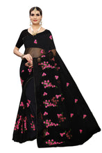 Munro Black Net Embroidery Saree