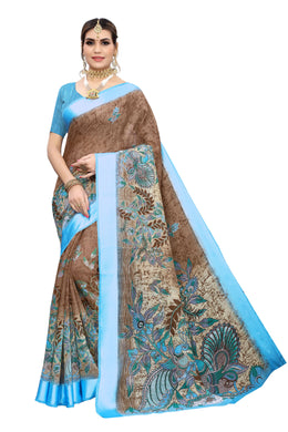 Parul Blue Linen Printed Saree