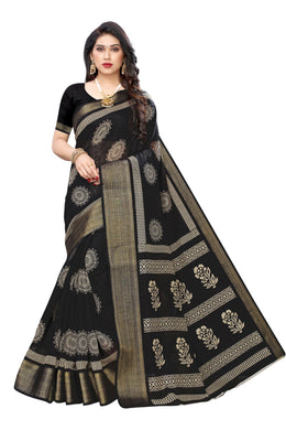 Wisdom Black Zari Silk Printed Saree