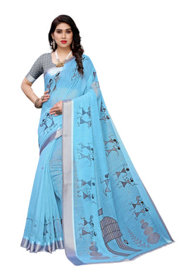 Ayodhya Blue Linen Printed Saree
