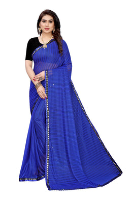 Zidzag Blue Malai Silk Printed Saree