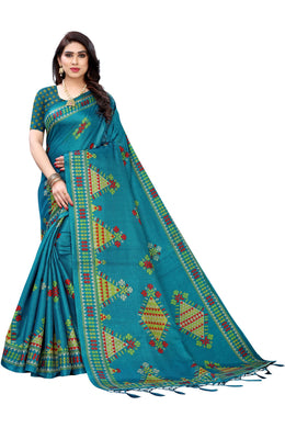 Kite Blue Khadi Silk Printed Saree