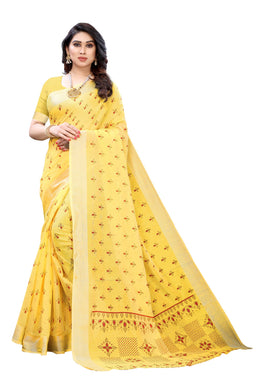 Diya Yellow Linen Printed Saree