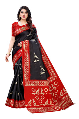 Mahika Black Linen Printed Saree