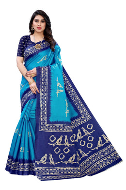Mahika Blue Linen Printed Saree