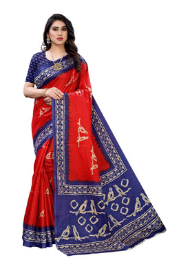 Mahika Red Linen Printed Saree