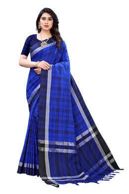 Hasini Blue Linen Prrinted Saree