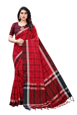 Hasini Red Linen Printed Saree