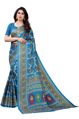 Rishika Blue Jute Silk Printed Saree