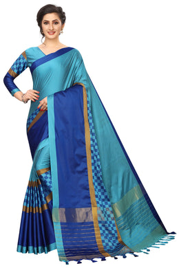 Box Blue Cotton Polyster Weaving Saree
