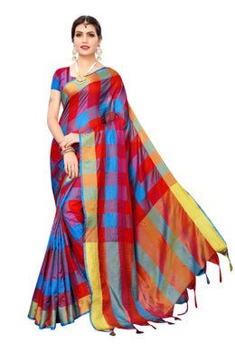 Chokda Blue Red Cotoon Polyester Weaving Saree