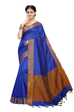 Ikkat Chokda Blue Cotton Polyester Weaving Saree