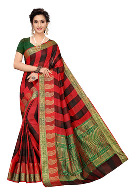 Jac Checks Black Cotton Polyester Weaving Saree