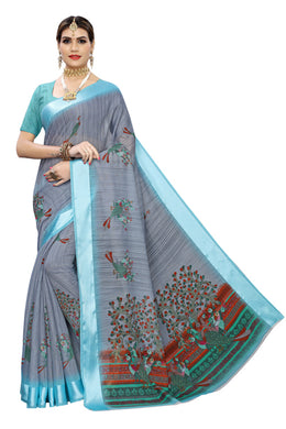 Sanjana Blue Linen Saree