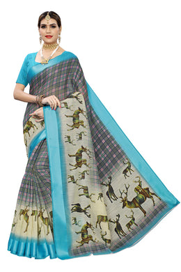 Sonakshi Jungle Blue Linen Saree