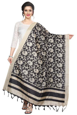 Black Color D3 Art Silk Only Dupptta