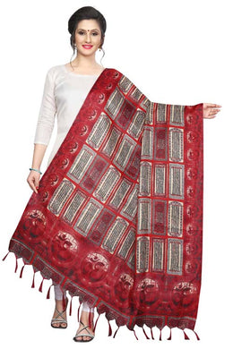 Red Color D4art Silk Only Dupptta