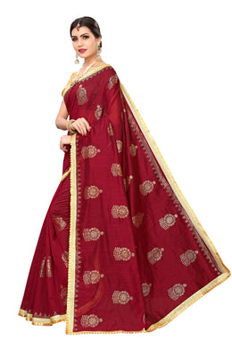 Golden Jhumki Maroon Banglori Silk Saree