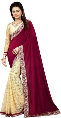 Maroon Velvet Matty Saree