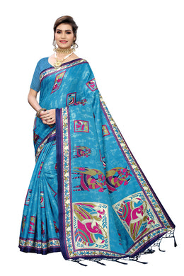 Venus Blue Art Silk Saree