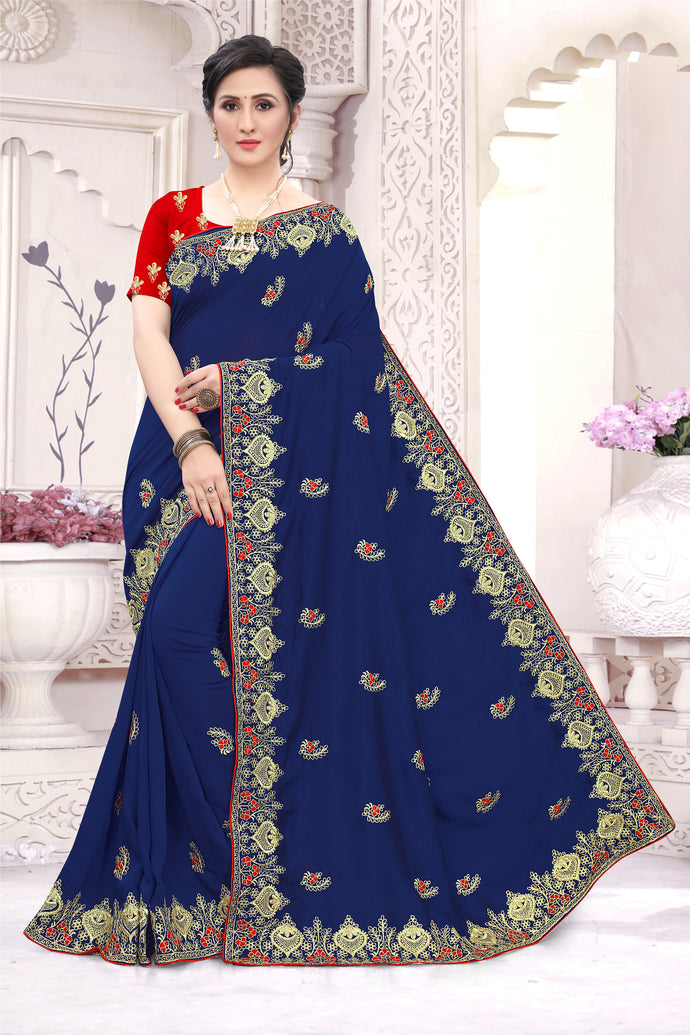 Navy Vichitra Silk All Over Embroidered Work With Saree