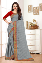 Grey Fancy Chiffon Silk Jacquard Lace Border With Saree