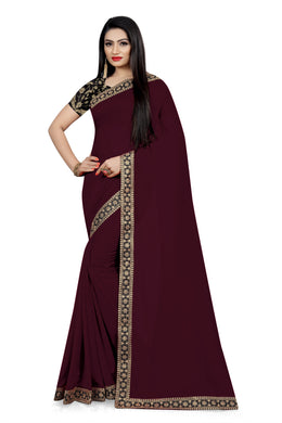 Festival Dazzling Look Brown Vichitra Silk Embroidered Work With Jordan Saree