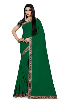 Festival Dazzling Look Green Vichitra Silk Embroidered Work With Jordan Saree