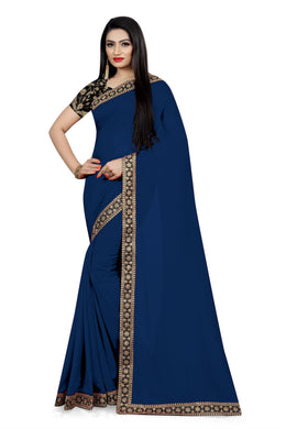 Festival Dazzling Look Navy Blue Vichitra Silk Embroidered Work With Jordan Saree
