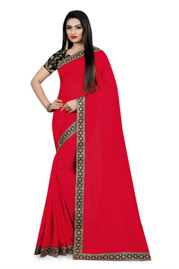 Festival Dazzling Look Red Vichitra Silk Embroidered Work With Jordan Saree