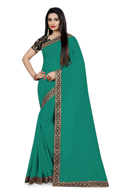 Festival Dazzling Look Sea Green Vichitra Silk Embroidered Work With Jordan Saree