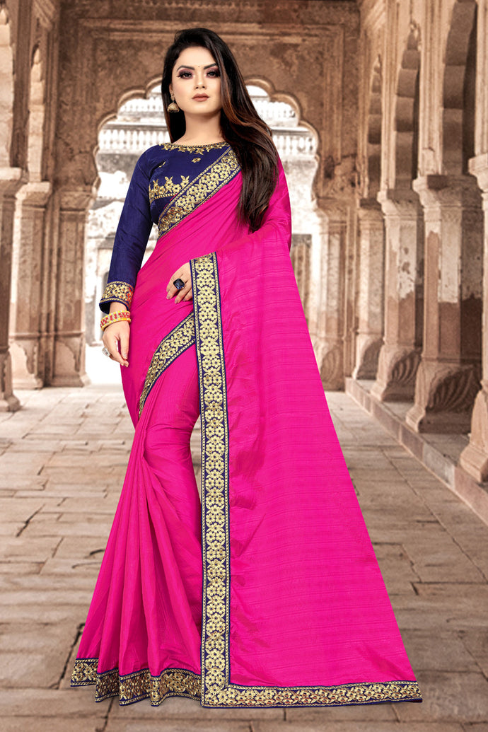 New Traditional Pink Color With Embroidery Lace