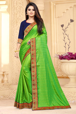 New Traditional Parrot Silk Lace Boarder Saree