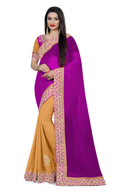 Celebration Trendy Style Purple Georgette Embroidered Work With Unique Saree