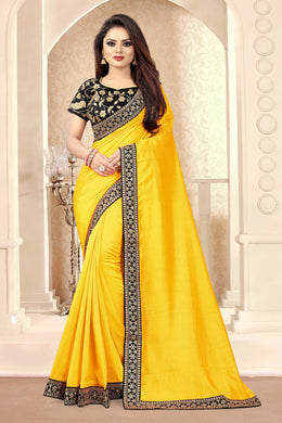 Yellow Vichitra Silk Sequence & Embroidered Work With Saree