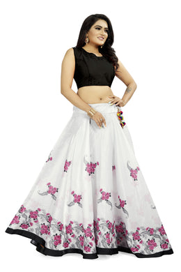 Graceful White & Pink Satin Banglory Digital Printed Lehenga Choli With Latkan