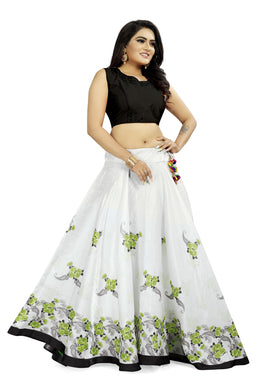 Marvelous White & Pista Satin Banglory Digital Printed Lehenga Choli With Latkan
