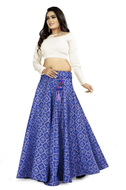 Ethnic Style Blue Satin Banglory Digital Printed Lehenga Choli With Latkan
