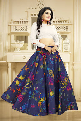 Provocative Blue Satin Banglory Digital Printed Lehenga Choli With Latkan