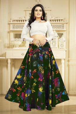 Charismatic Green Satin Banglory Digital Printed Lehenga Choli With Latkan