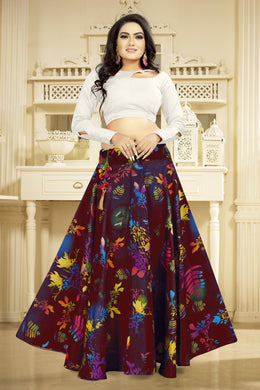 Engaging Maroon Satin Banglory Digital Printed Lehenga Choli With Latkan