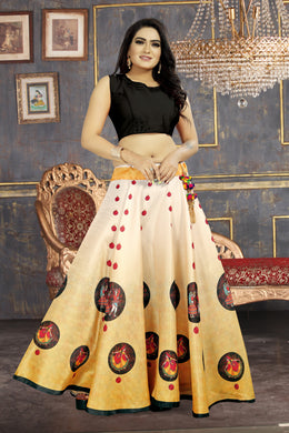 Exceptional Yellow Satin Banglory Digital Printed Lehenga Choli With Latkan