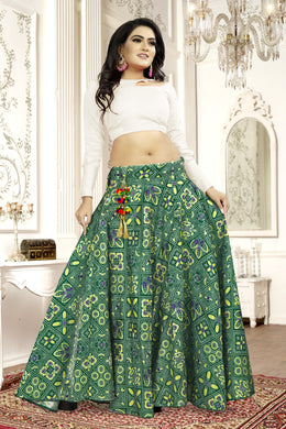Fascinating Green Satin Banglory Digital Printed Lehenga Choli With Latkan