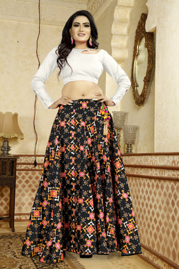 Stimulating Black Satin Banglory Digital Printed Lehenga Choli With Latkan