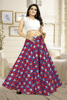Enjoyable Blue & Red Satin Banglory Digital Printed Lehenga Choli With Latkan