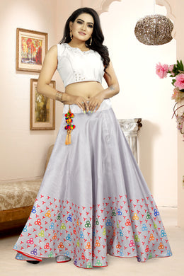 Benefitting Grey Satin Banglory Digital Printed Lehenga Choli With Latkan