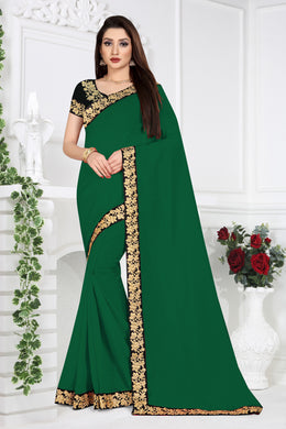 Ceremany Wear Pretty Green Vichitra Silk Embroidered Work With Newest Saree