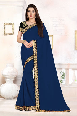 Ceremany Wear Pretty Navy Blue Vichitra Silk Embroidered Work With Newest Saree