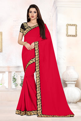 Ceremany Wear Pretty Red Vichitra Silk Embroidered Work With Newest Saree